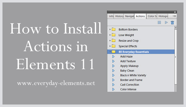 tutorial on how to install actions in photoshop elements 11