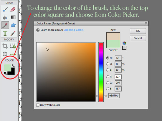 changing brush color in Photoshop
