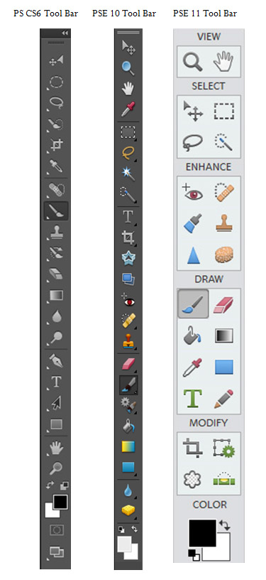 Tool Menus for Photoshop CS6 PSE 11 and PSE 10