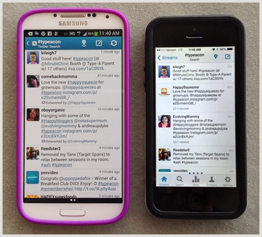 galaxy S4 iphone side-by-side comparison