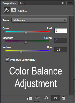 color balance adjustment layer in photoshop