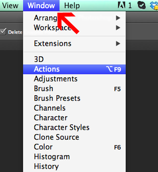 Where to look for Actions panel in Photoshop