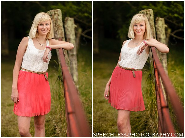 "I told my subject to stand beside the fence (left) and then I ""tweaked"" the pose using the tips above."