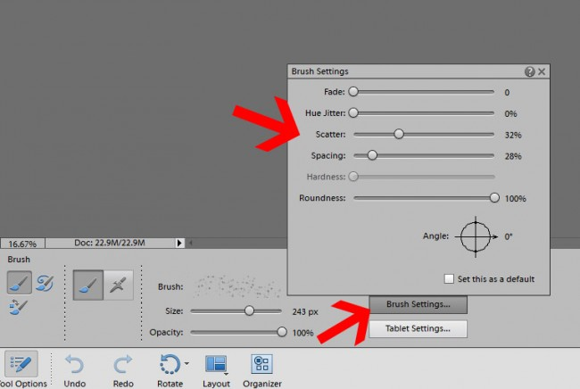 making a brush scatter in photoshop elements