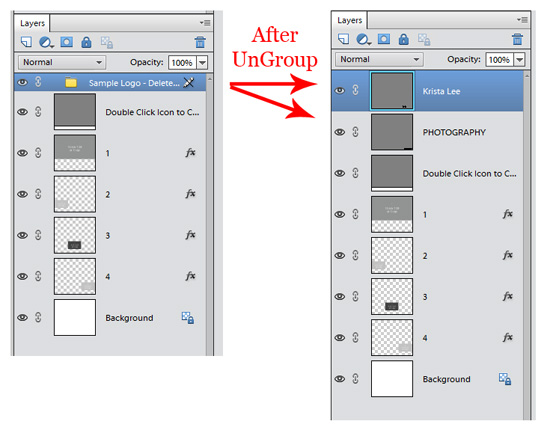 Ungroup Layers in Photoshop Elements With Make UnGroup Free Action