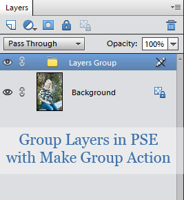 How to group actions in PSE with free Make Group action.